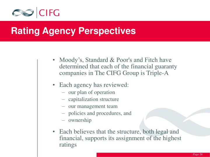 Rating Agency Perspectives