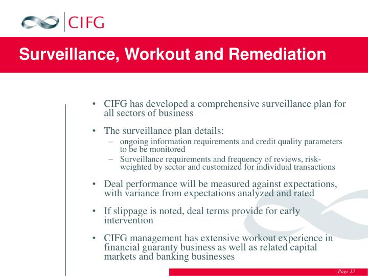 Surveillance, Workout and Remediation
