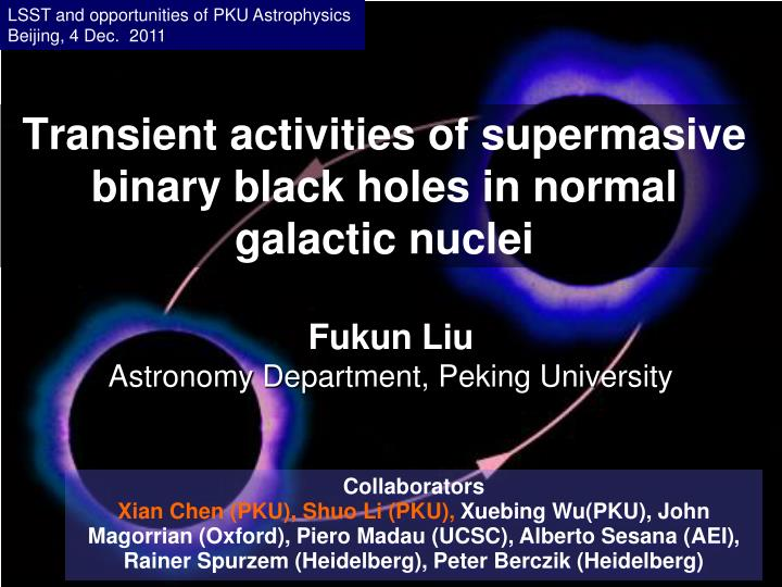Transient activities of supermasive binary black holes in normal galactic nuclei