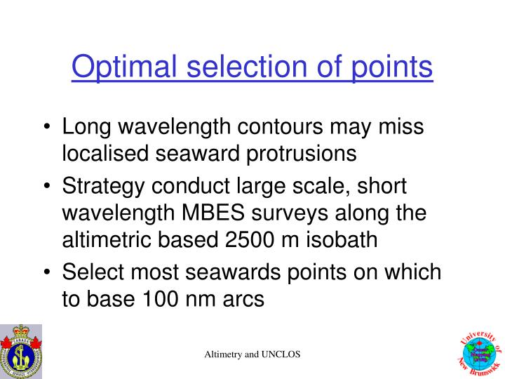 Optimal selection of points