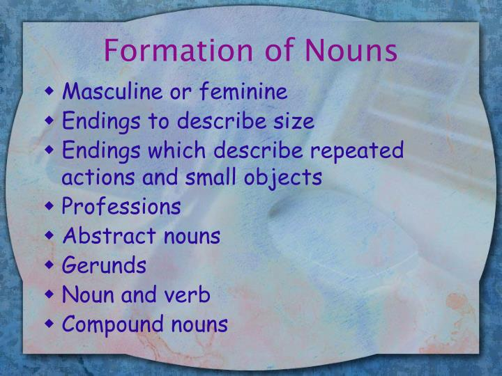 Formation of Nouns