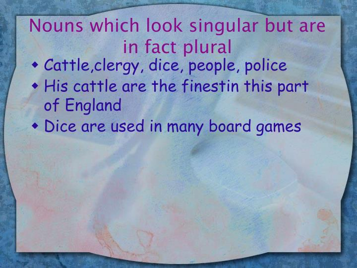 Nouns which look singular but are in fact plural
