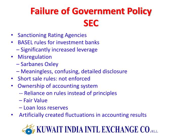 Failure of Government Policy