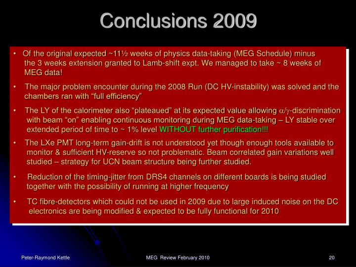 Conclusions 2009