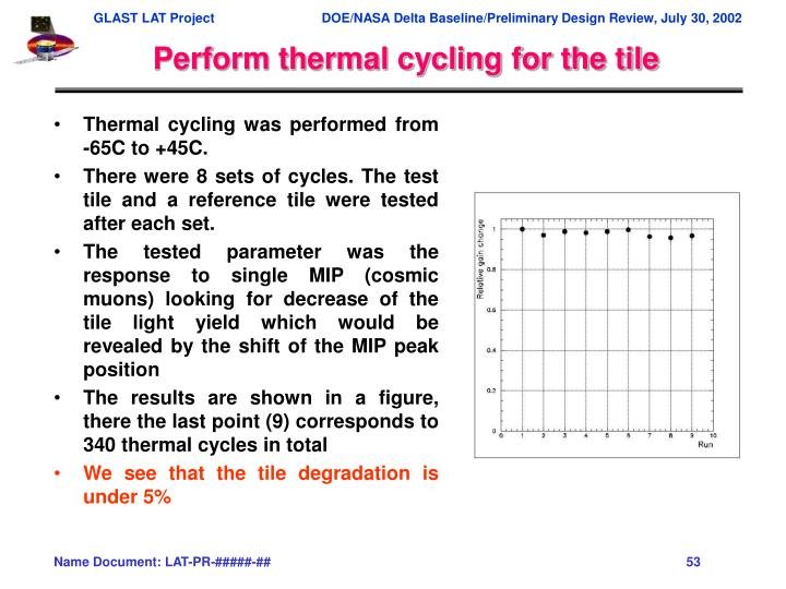 Perform thermal cycling for the tile