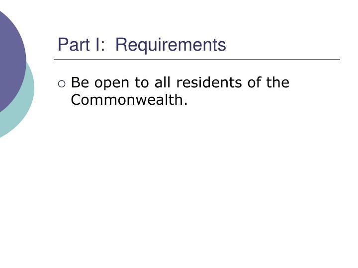 Part i requirements
