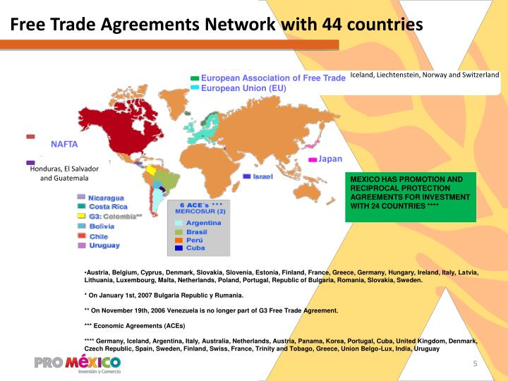 Free Trade Agreements Network with 44 countries