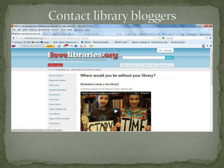 Contact library bloggers