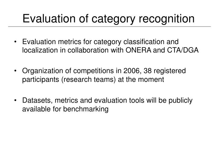 Evaluation of category recognition