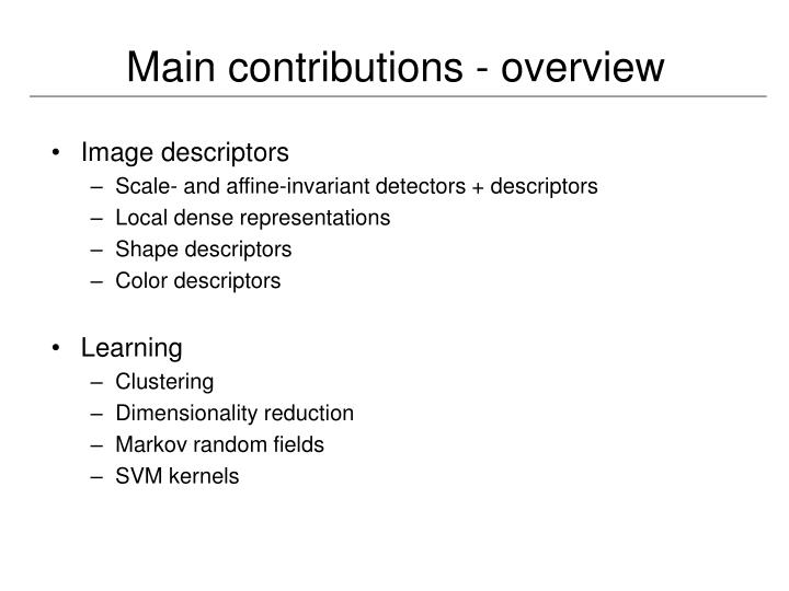 Main contributions - overview