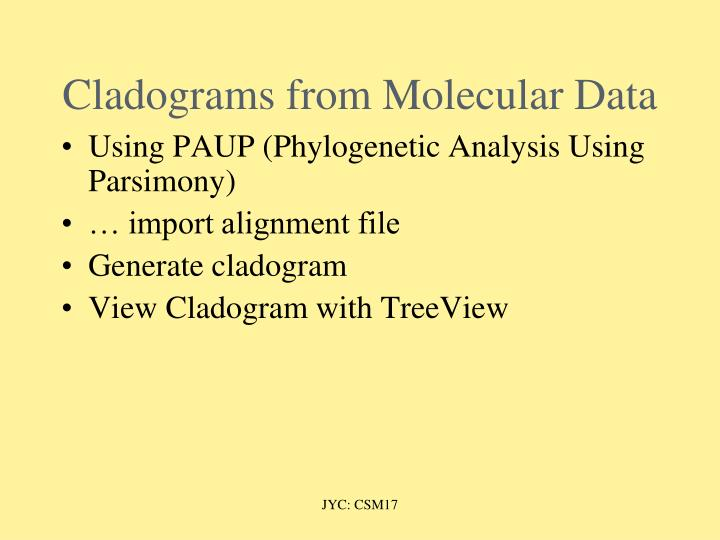 Cladograms from Molecular Data