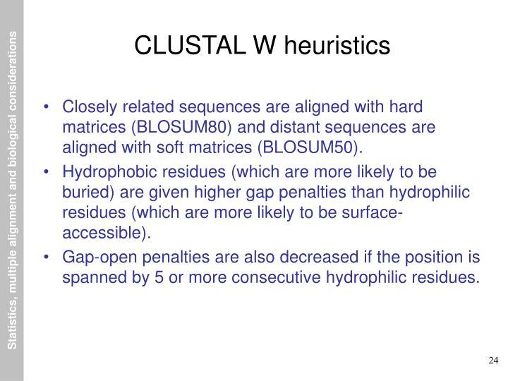 CLUSTAL W heuristics