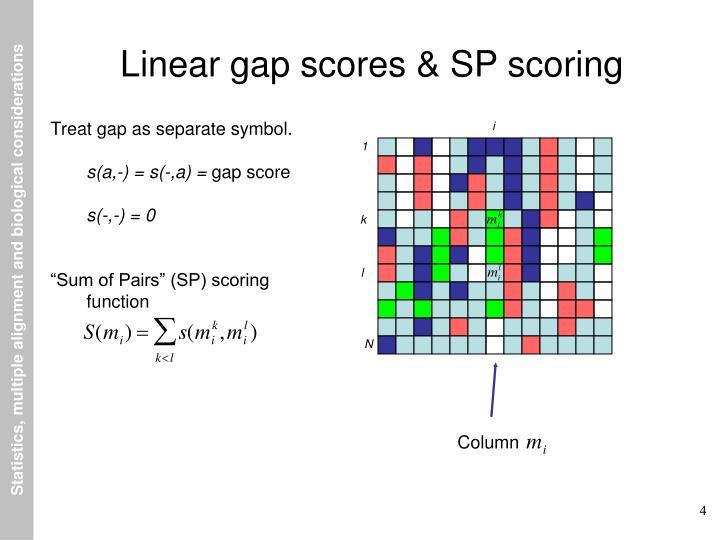 Linear gap scores & SP scoring