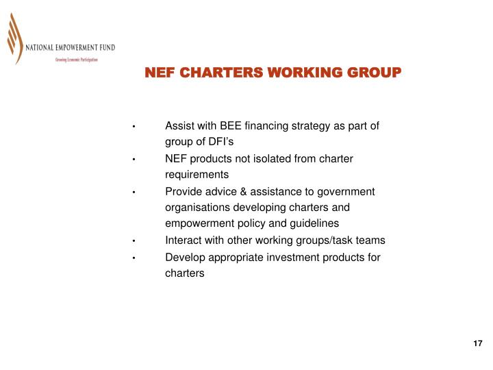 NEF CHARTERS WORKING GROUP