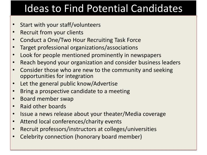 Ideas to Find Potential Candidates