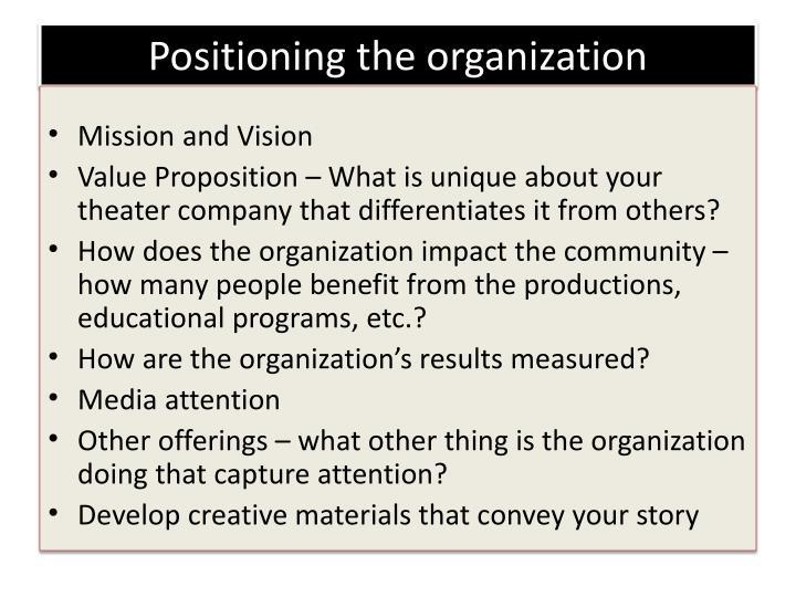 Positioning the organization