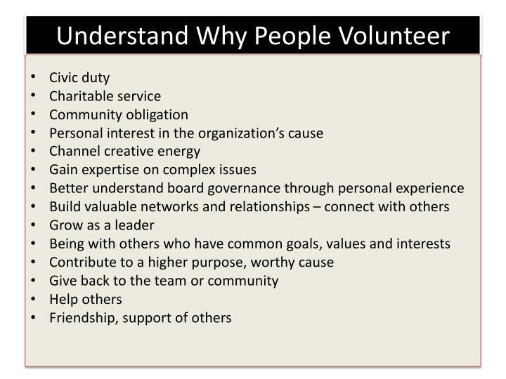 Understand Why People Volunteer