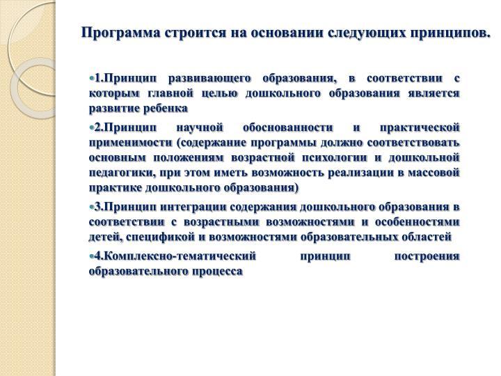 Программа строится на основании следующих принципов.