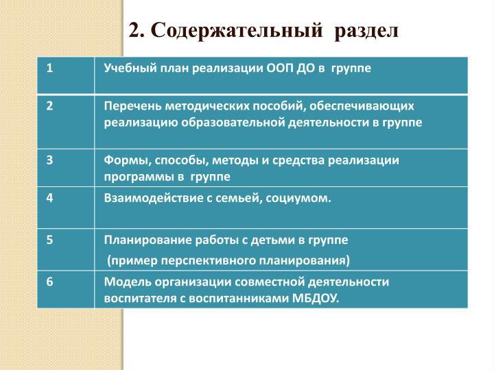 2. Содержательный  раздел