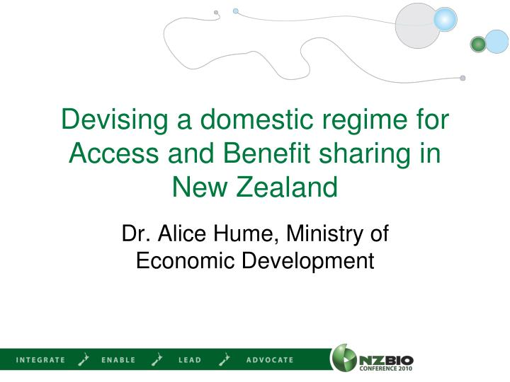 devising a domestic regime for access and benefit sharing in new zealand n.