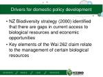 drivers for domestic policy development