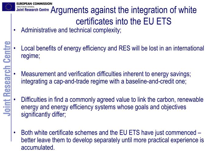 Arguments against the integration of white certificates into the EU ETS