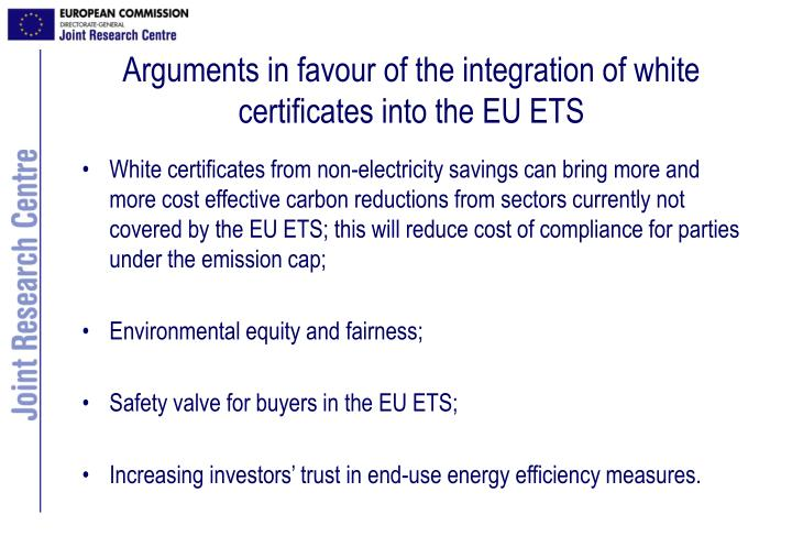 Arguments in favour of the integration of white certificates into the EU ETS