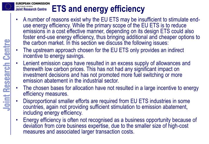 ETS and energy efficiency
