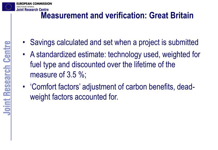 Measurement and verification: Great Britain