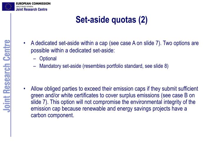 Set-aside quotas (2)