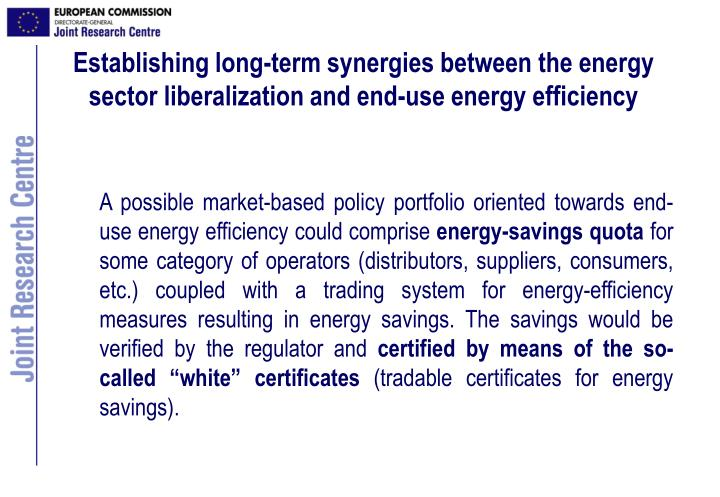 Establishing long-term synergies between the energy sector liberalization and end-use energy efficiency