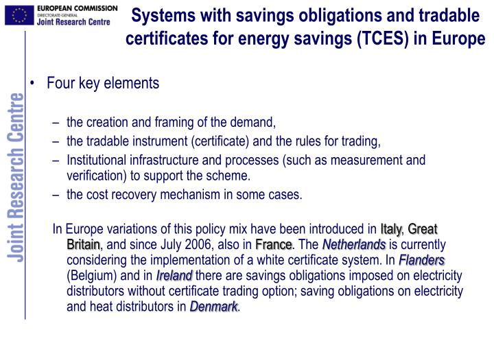 Systems with savings obligations and tradable certificates for energy savings (TCES) in Europe