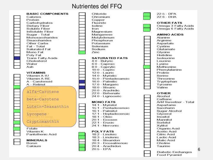 Nutrientes del FFQ