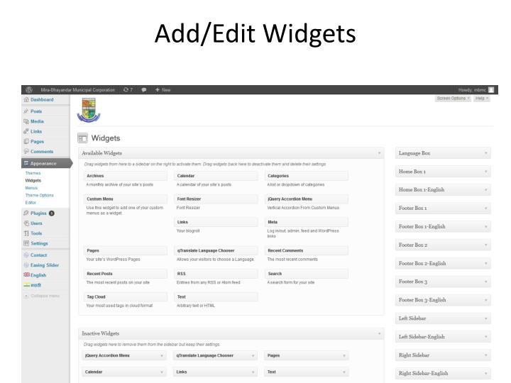 Add/Edit Widgets