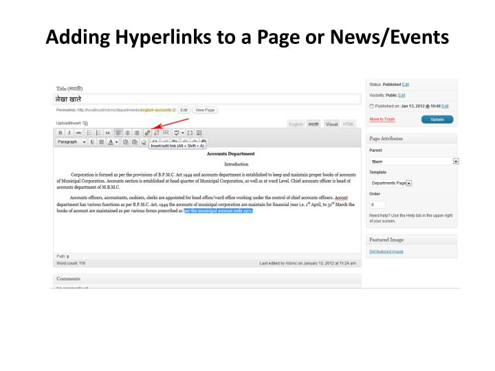 Adding Hyperlinks to a