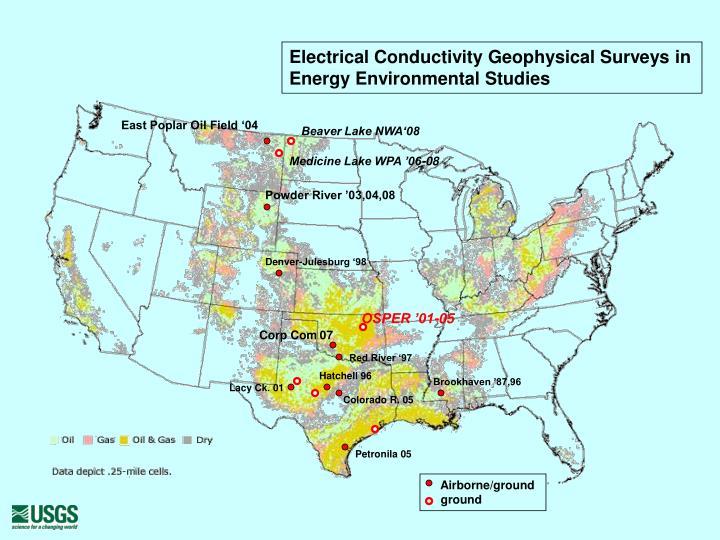 Electrical conductivity geophysical surveys in energy environmental studies