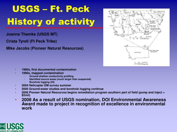 USGS – Ft. Peck History of activity