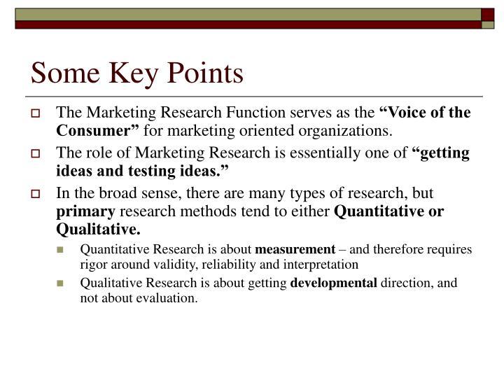 Some Key Points