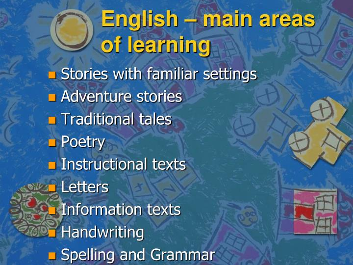 English – main areas of learning