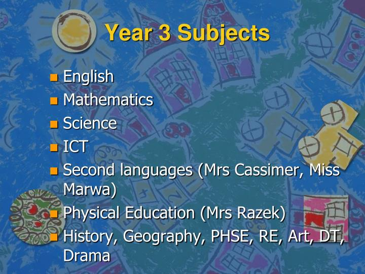 Year 3 Subjects