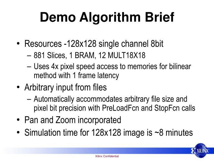 Demo Algorithm Brief