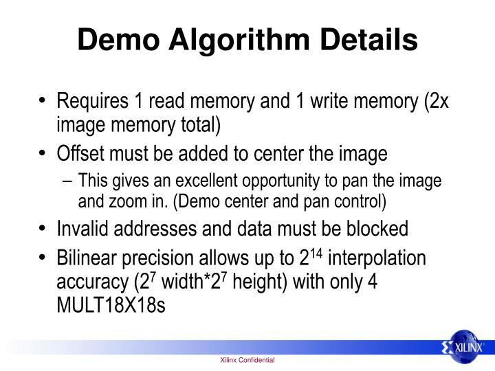 Demo Algorithm Details