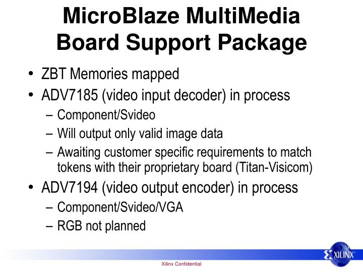 MicroBlaze MultiMedia Board Support Package