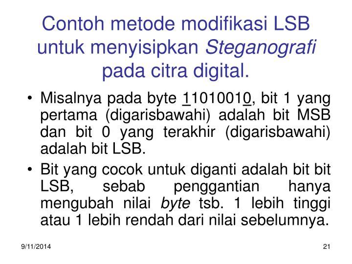 Contoh metode modifikasi LSB untuk menyisipkan