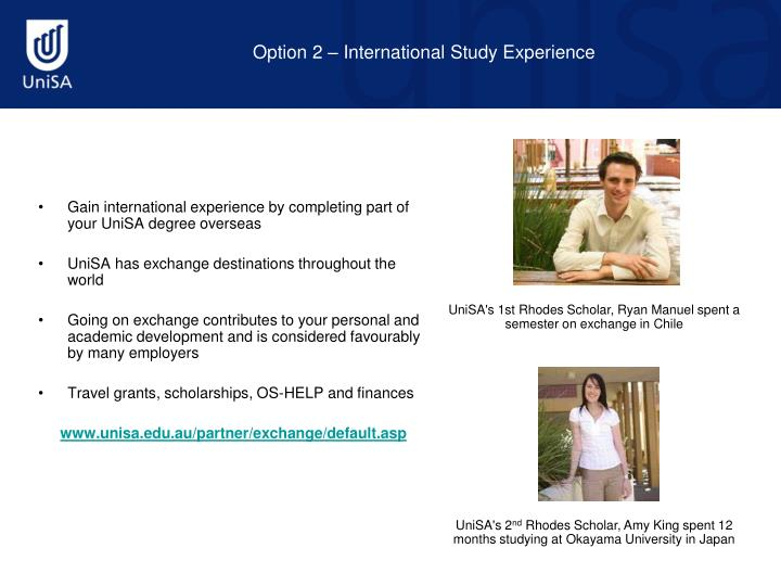 Option 2 – International Study Experience