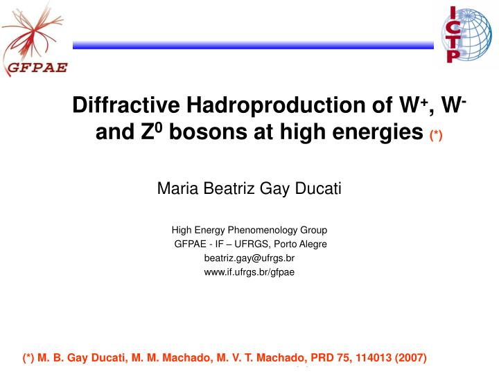 Diffractive hadroproduction of w w and z 0 bosons at high energies