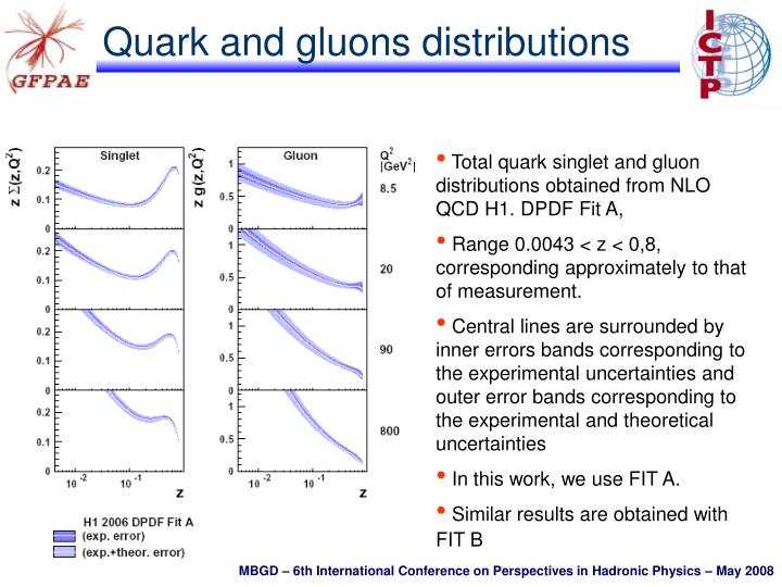 Quark and gluons distributions