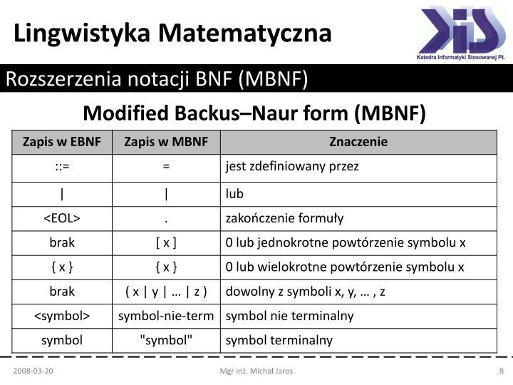 Rozszerzenia notacji BNF (MBNF)