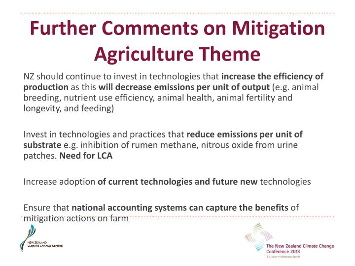 Further Comments on Mitigation Agriculture Theme
