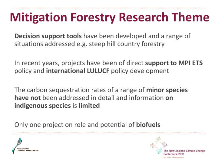 Mitigation Forestry Research Theme